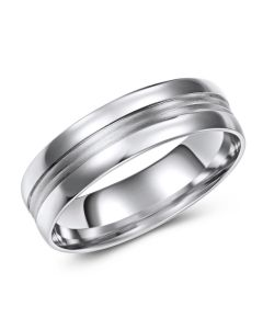 White Gold Band with 2 Line Brushed Inlay