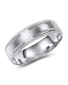 White Gold Satin Inlay Diamond Cut Edge