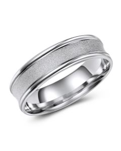 White Gold Concave Brushed Inlay