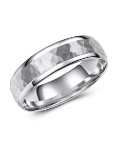 White Gold Brushed Hammered Inlay
