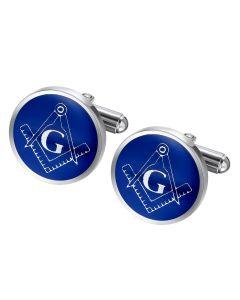 Stainless steel blue masonic cuff links