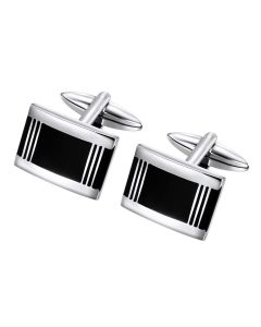 Rectangle with lined accent cuff links