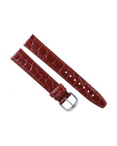 18mm Long Burgundy Flat Crocodile Stitched Leather Watch Band