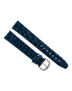 18mm Long Navy Blue Flat Crocodile Stitched Leather Watch Band