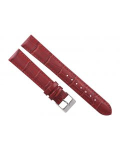 18mm Long Burgundy Padded Stitched Crocodile Print Leather Watch Band