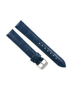 18mm Long Navy Blue Padded Crocodile Stitched Leather Watch Band