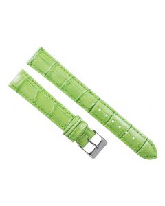 18mm Long Lime Green Padded Crocodile Stitched Leather Watch Band