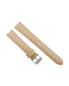 18mm Long Beige Padded Crocodile Stitched Leather Watch Band