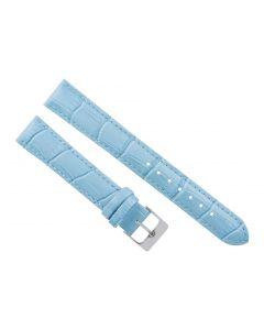 18mm Long Light Blue Padded Stitched Crocodile Print Leather Watch Band