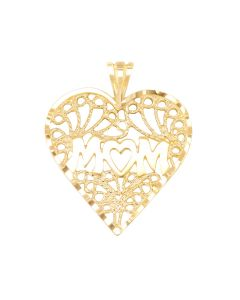 Large Mom Charm with Heart in Heart Frame