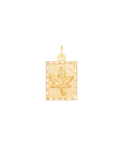 Small Maple Leaf Charm in Rectangular Frame