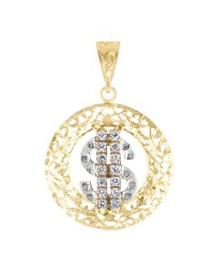 Two Tone Dollar Sign in Circular Frame with Cubic Zirconia