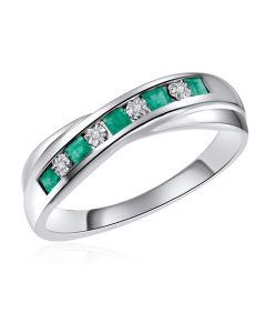 14K White Gold Channel Ring with Emerald and Diamonds