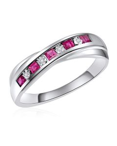 14K White Gold Channel Ring with Ruby and Diamonds
