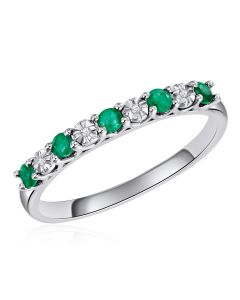 14K White Gold Shared Claw Ring with Emerald and Diamonds