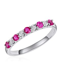 14K White Gold Shared Claw Ring with Ruby and Diamonds