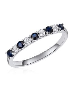 14K White Gold Shared Claw Ring with Sapphire and Diamonds