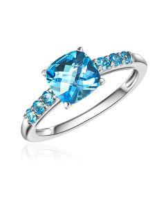 10K White Gold Cushion London Blue Topaz Ring