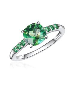 10K White Gold Cushion Passion Rain Forest Green Ring