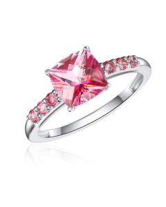 10K White Gold Cushion Passion Pink Topaz Ring