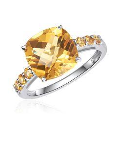 10K White Gold Cushion Citrine Ring