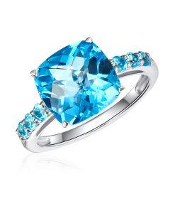 10K White Gold Cushion Swiss Blue Topaz Ring