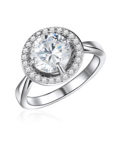 10K White Gold Round Halo CZ Ring