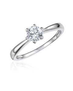 10K White Gold Solitaire CZ Ring