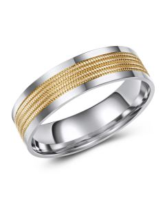 Two Tone Diamond Cut Centre Band