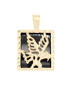 Eagle Charm in Square Frame w Onyx 2