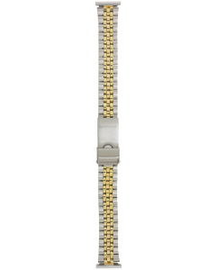 Two Tone Metal 16mm Train Track Style Buckle Watch Strap