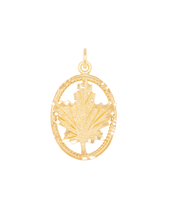 Large Maple Leaf Charm in Oval Frame