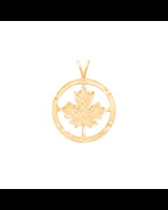 Maple Leaf Charm in Circular Frame 2