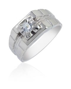 Cubic Zirconia Ring with Brick Shoulders