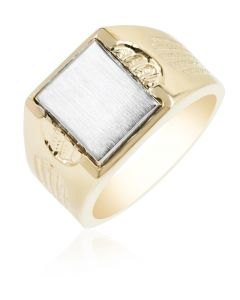 Signet Ring with Textured Shoulders