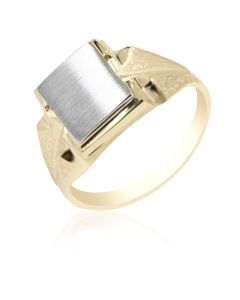 Signet Ring with Grooved Shoulders