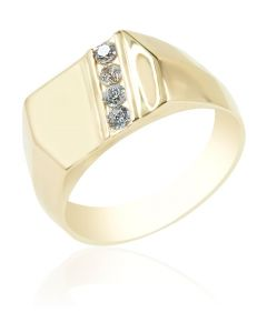 Signet Ring with Cubic Zirconia
