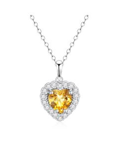 10K White Gold Heart Halo Pendant with Citrine and White Topaz