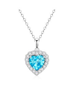 10K White Gold Heart Halo Pendant with Swiss Blue Topaz and White Topaz