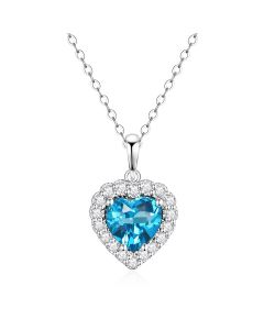 10K White Gold Heart Halo Pendant with London Blue Topaz and White Topaz