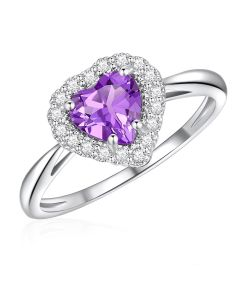 10K White Gold Heart Halo Ring with Amethyst and White Topaz