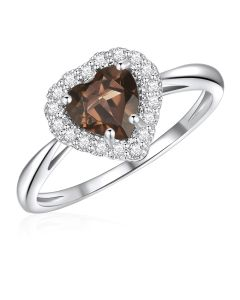 10K White Gold Heart Halo Ring with Smokey Quartz and White Topaz