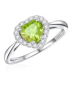 10K White Gold Heart Halo Ring with Peridot and White Topaz