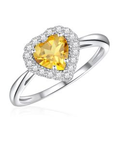 10K White Gold Heart Halo Ring with Citrine and White Topaz