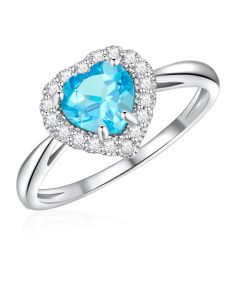 10K White Gold Heart Halo Ring with Swiss Blue Topaz and White Topaz