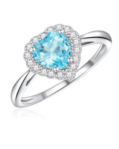 10K White Gold Heart Halo Ring with Sky Blue Topaz and White Topaz