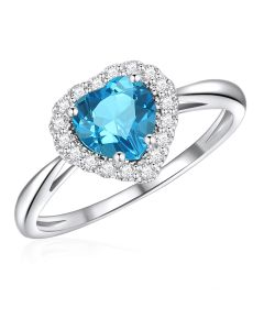 10K White Gold Heart Halo Ring with London Blue Topaz and White Topaz