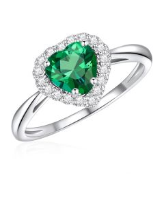 10K White Gold Heart Halo Ring with Passion Rain Forest Green and White Topaz