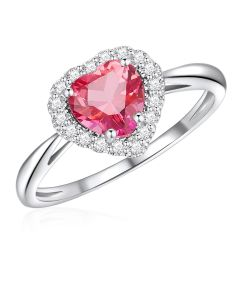 10K White Gold Heart Halo Ring with Passion Pink Topaz and White Topaz