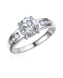 10K White Gold Ladies CZ Ring